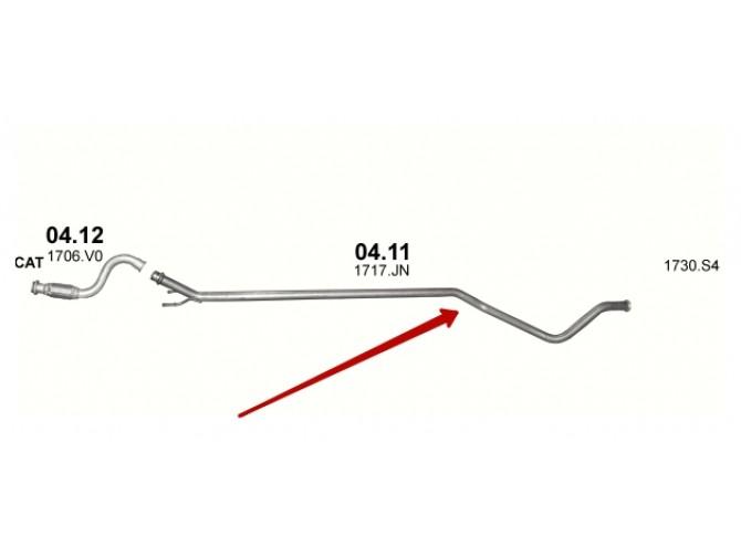 Труба промежуточная Ситроен С4/Пежо 308 (Citroen C4/Peugeot 308) 1.6 Turbo Diesel 07-13 (04.11) Polmostrow алюминизированная