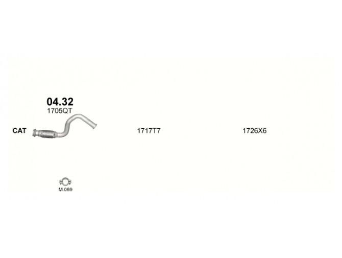 Труба коллекторная Ситроен Ксара (Citroen Xsara) 1.4 TD 03-05 (04.32)  Polmostrow алюминизированная