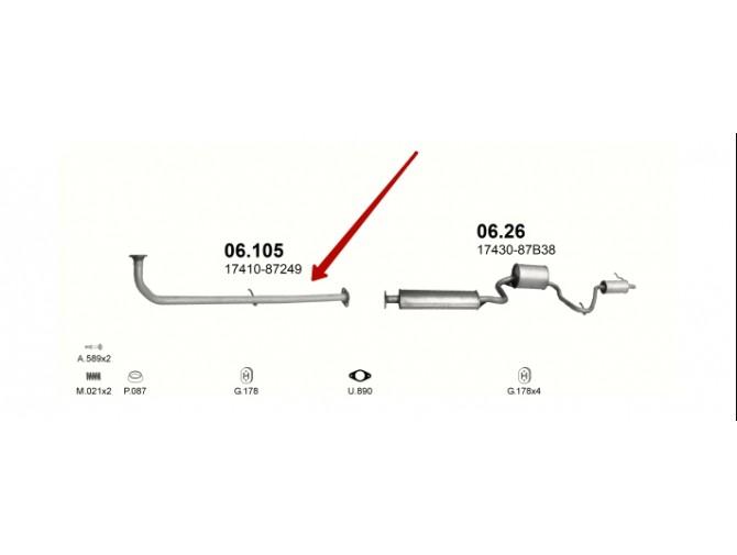 Приемная труба Даихатсу Куор/Мов (Daihatsu Cuore/Move) 0.8 90-98 (06.105) Польша Polmostrow алюминизированная