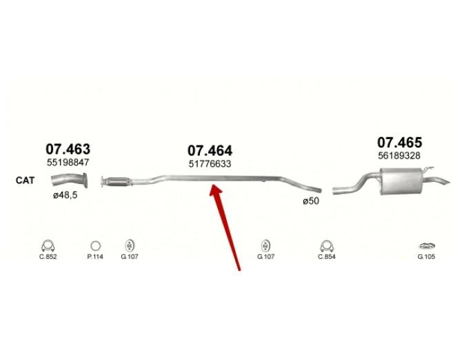 Труба средняя Фиат Пунто 2 (Fiat Punto 2) 1.3 MJTD 03-06 (07.464) Polmostrow алюминизированная