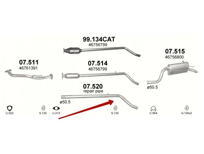 Труба после катализатора Фиат Пунто II (Fiat Punto II) 1.9 JTD 99-06 (07.520) Polmostrow алюминизированная