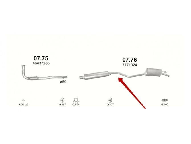 Система (глушитель и резонатор) Фиат Пунто (Fiat Punto) 1.7 TD 93-99 (07.76) Polmostrow алюминизированный