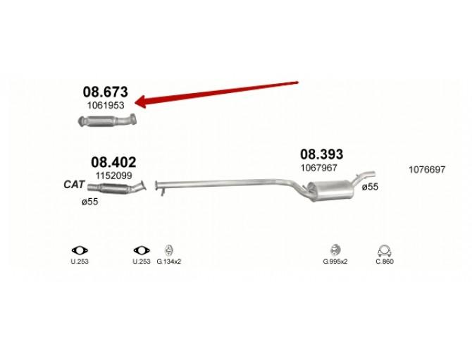 Труба средняя с гофрой Форд Фокус (Ford Focus) 1.8 TD 98-04 (08.673) Polmostrow алюминизированная