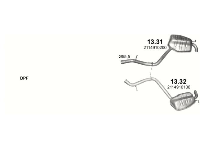 Глушитель задний (конечный, основной) Мерседес E-Class E400 - W211 (Mercedes E-Class E400 - W211) - (13.31) Polmostrow