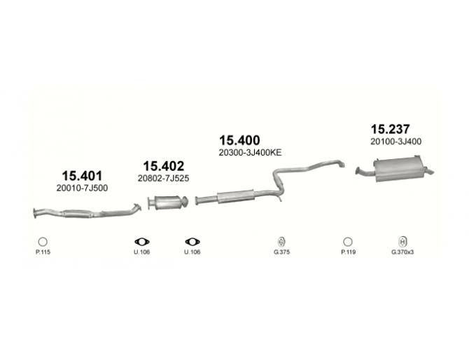 Труба глушителя приемная Ниссан Примера (Nissan Primiera) 2.0i 16V 06/99-01/02 (15.401) - Polmostrow