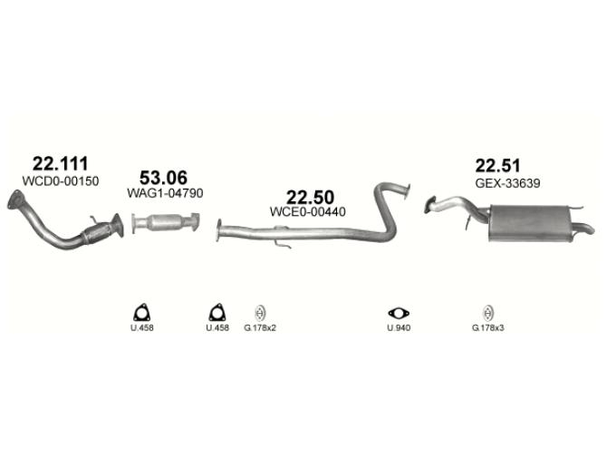 Труба глушителя приемная Ровер 25 (Rover 25) 2.0 TD Turbo Diesel hatchback 11/99-06 , 45 2.0 TD hatch (22.111) - Polmostrow