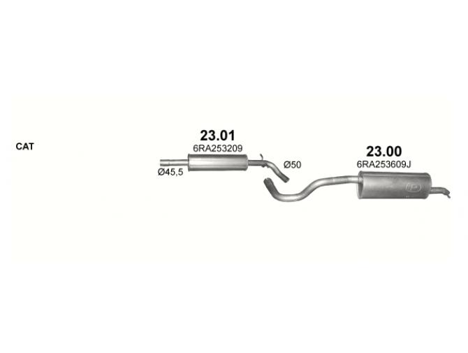 Глушитель задний (конечный, основной) Шкода Рапид (Skoda Rapid) / Сеат Толедо (Seat Toledo) 12 (23.00) - Polmostrow