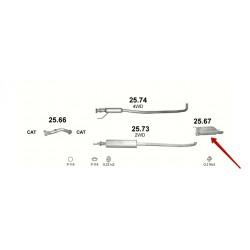 Глушитель Сузуки Лиана (Suzuki Liana) 1.3/1.6 01-08 (25.67) Polmostrow алюминизированный