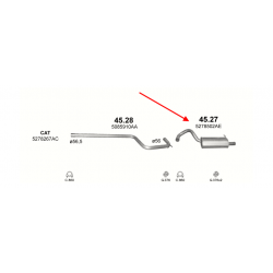 Глушитель задний Крайслер  (Chrysler) 2.0 2.2 2.4 CRD 00 (45.27) Polmostrow алюминизированный