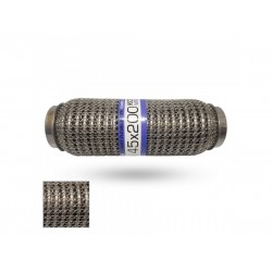 Гофра глушителя 45Х200 усиленная Interlock кольчуга (3 слоя, короткий фланец / нерж.сталь) EuroEx