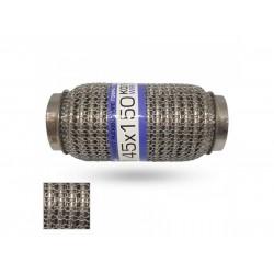 Гофра глушителя 45Х150 усиленная Interlock кольчуга (3 слоя, короткий фланец / нерж.сталь) EuroEx