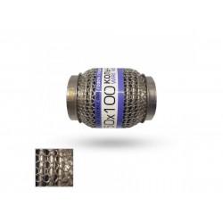 Гофра глушителя 50Х100 усиленная Interlock кольчуга (3 слоя, короткий фланец / нерж.сталь) EuroEx