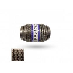 Гофра глушителя 55Х120 усиленная Interlock кольчуга (3 слоя, короткий фланец / нерж.сталь) EuroEx