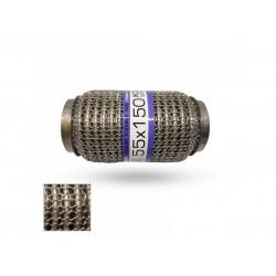Гофра глушителя 55Х150 усиленная Interlock кольчуга (3 слоя, короткий фланец / нерж.сталь) EuroEx