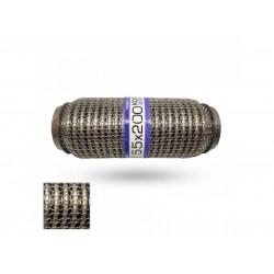 Гофра глушителя 55Х200 усиленная Interlock кольчуга (3 слоя, короткий фланец / нерж.сталь) EuroEx