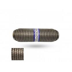 Гофра глушителя 55Х250 усиленная Interlock кольчуга (3 слоя, короткий фланец / нерж.сталь) EuroEx