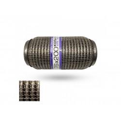 Гофра глушителя 76Х200 усиленная Interlock кольчуга (3 слоя, короткий фланец / нерж.сталь) EuroEx