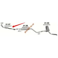 Труба приемная Ауди А2 (Audi A2) 1.4 00-05 (01.97) Polmostrow алюминизированный
