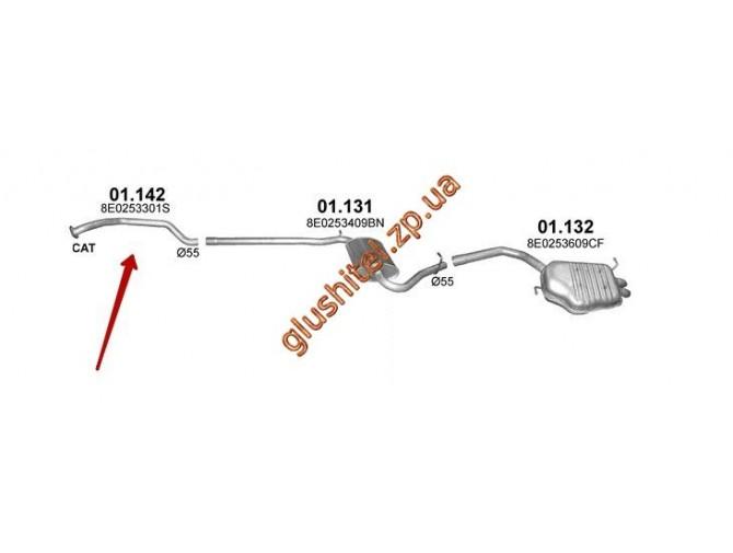 Труба приемная Ауди А4 (AUDI A4) 1.9 D SEDAN, KOMBI 12/2000 - 12/2004 (01.142) Polmostrow алюминизированный