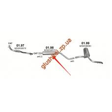 Резонатор Ауди А2 (Audi A2) 1.4 00-05 (01.98) Polmostrow алюминизированный