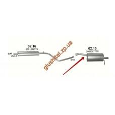 Глушитель Дачия - Рено Дастер (DACIA - Renault DUSTER) 1.6і, /2010 - 0/0 (02.15) Polmostrow алюминизированный