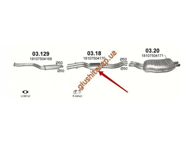 Резонатор BMW E46 320i/325i 2.2/2.5/3.0 /1998 - 2/2005 (03.18) Polmostrow алюминизированный