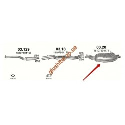 Глушитель BMW E46 320i/325i 2.2/2.5/3.0; /1998 - 2/2005 (03.20) Polmostrow алюминизированный