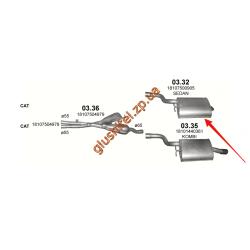 Глушитель BMW 5 Е39 520i/523і/525i/528і/530i 98-03 (03.32) Polmostrow алюминизированный