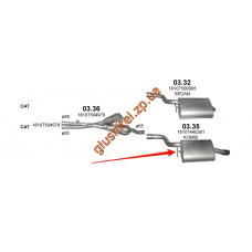Глушитель BMW 5 Е39 520i/523і/525i/528і/530i 98-03 (03.35) Polmostrow алюминизированный