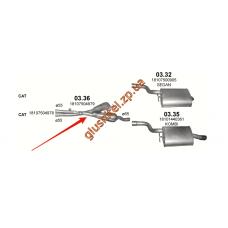 Резонатор BMW 5 Е39 520i/525i/530i 00-03 (03.36) Polmostrow алюминизированный