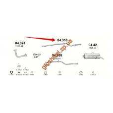 Трубка средняя Ситроен Саксо (Citroen Saxo) 1,0 / 1,1 96 -04 (04.310) Polmostrow алюминизированный
