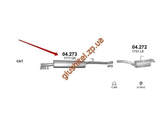 Резонатор Пежо Эксперт / Фиат Скудо / Ситроен Джампи (PEUGEOT EXPERT / FIAT SCUDO / CITROEN JUMPY) 2.0 D (Diesel) VAN 6/2001 - 4/2005 95- (04.273) Polmostrow алюминизированный