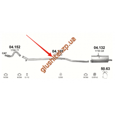Труба промежуточная CITROEN BERLINGO, PEUGEOT PARTNER 1.6HDi 05- (04.135) Polmostrow алюминизированный