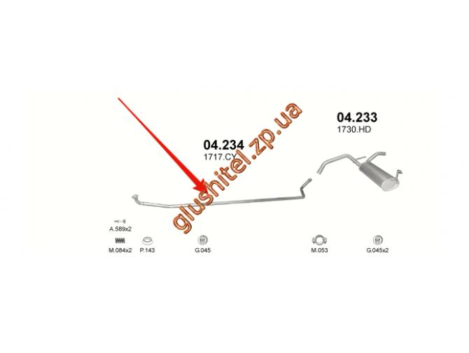 Труба промежуточная Ситроен Ц1 (Citroen C1) / Тойота Айго (Toyota Aygo) / Пежо 107 (Peugeot 107) 1.0i 05- (04.234) Polmostrow алюминизированный