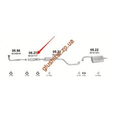 Заменитель катализатора Дэу Леганза (Daewoo Leganza) 2.0i 16V 02-03 (05.27) Polmostrow алюминизированный