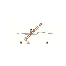 Резонатор без резьбы под датчик Дэу Реззо (Daewoo Rezzo) / Шевроле Такума (Chevrolet Tacuma) 1.6i /1.8i / 2.0i 16V 00- (05.47) Polmostrow алюминизированный