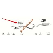 Резонатор Фиат Стило (Fiat Stilo) 1.9 JTD hat. kombi 01- (07.413) Polmostrow алюминизированный
