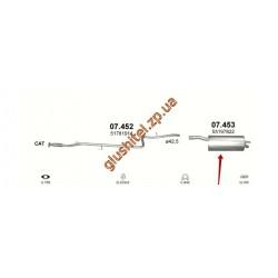 Глушитель Фиат Добло (Fiat Doblo) 1.4 05-09 (07.453) Polmostrow алюминизированный