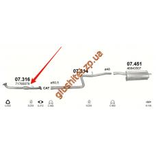 Труба приемная Фиат Добло (Fiat Doblo) 1.9 JTD Turbo Diesel 00-05 (07.316) Польша Polmostrow алюминизированный