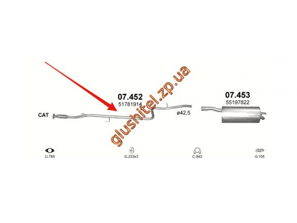 Труба промежуточная с гофрой Фиат Добло (Fiat Doblo) 1.4i 05-09 (07.452) Польша Polmostrow алюминизированный