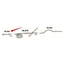 Труба соединительная с гофрой Форд Виндстар (Ford Windstar) 3.8 1995 (08.600) Polmostrow алюминизированный
