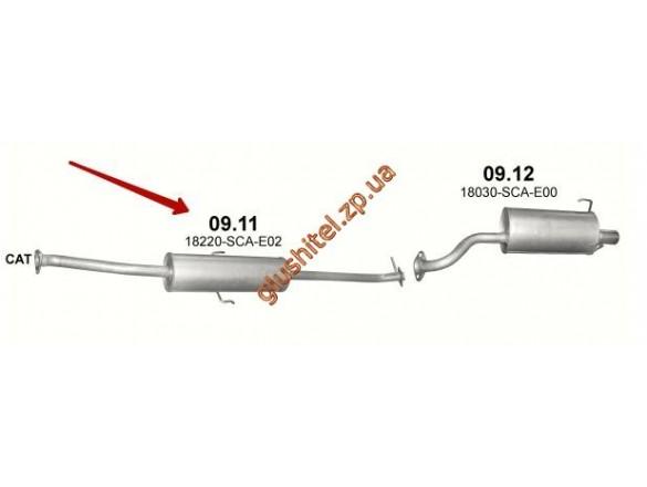 Резонатор Хонда СРВ (Honda CRV) 2.0i 16V, 01/02-09/06 (09.11) Polmostrow алюминизированный