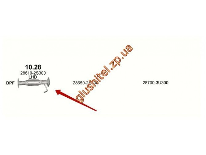 Труба соединительная (с гофрой) Киа Спортейдж (Kia Sportage) / Хюндай IX35 (HYUNDAI ix35) 1.7D 10-  (10.28) Polmostrow алюминизированный