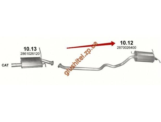 Глушитель Хюндай Санта Фе (Hyundai Santa Fe) 2.0D/2.0/2.4, /2001 - 3/2006 (10.12) Polmostrow алюминизированный