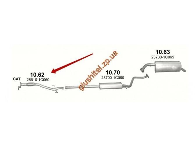 Труба приемная (с гофрой) Хюндай Гетс (Hyundai Getz) 1.3i 12V, /2002 - 10/2006 (10.62) Polmostrow алюминизированный