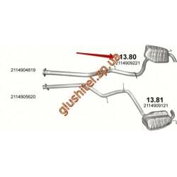 Глушитель Мерседес (Mercedes) E270 / E320 - W211, 2.7/3.0/3.2 TDi 05 - 08 (13.80) Polmostrow алюминизированный