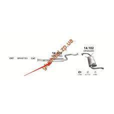 Резонатор Митсубиши Спайс Стар (Mitsubishi Space Star) 1.8 GDi 00-02 (14.103) Polmostrow алюминизированный