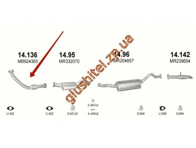 Труба приемная Митсубиси Паджеро (Mitsubishi Pajero) (14.136) 2.8 TDi Turbo Intercooler Diesel 4x4 04/94-02/00 Polmostrow алюминизированный