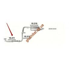 Приемная труба с гофрой Ниссан Навара (NISSAN NAVARA) 2.5 D 05 -  (15.211) Polmostrow алюминизированный