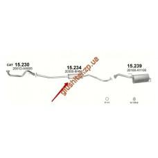 Резонатор Ниссан Ноут (Nissan Note) 1.4i-16V 04/09- (15.234) Polmostrow алюминизированный